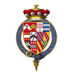 Quartered arms of Sir William Brooke, 10th Baron Cobham, KG.png
