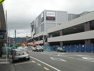2016 Kaikoura earthquake - Demolition of the damaged cinema and parking building at Queensgate Shopping Centre, Lower Hutt, on 6 December 2016