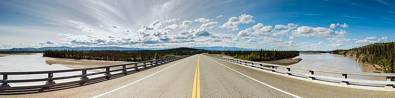 Alaska Route 2 over Tanana River, Tok, Alaska, United States.