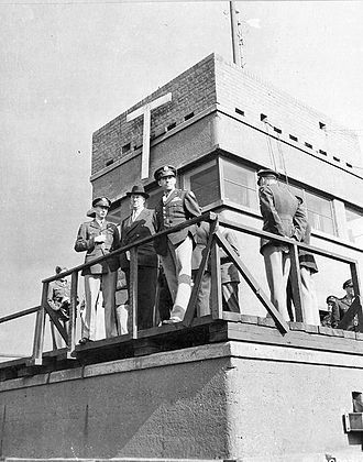 RAF Debden - USAAF Personnel waiting for the return of 4th Fighter Group aircraft on the Debden Control Tower, 25 September 1943