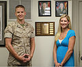 Rachel Wunderlich, right, the recipient of the Irene Ferguson Marine Wife Recognition Award, stands with her husband, U.S. Marine Corps Staff Sgt. Corey Wunderlich, an airframes mechanic with Marine Heavy 110830-M-YP696-018.jpg