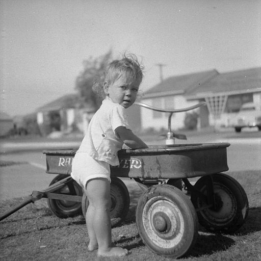 Radio flyer wagon 1950's and young girl