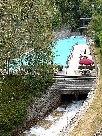 Radium Hot Springs - The hot-water pool at Radium Hot Springs.