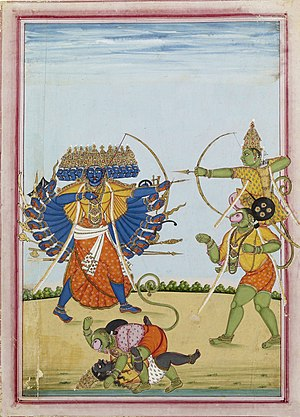 Ramavataram - Rama and Hanuman fighting Ravana, an album painting on paper from Tamil Nadu, ca 1820.