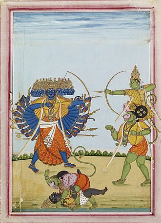 Hindu mythology - Rama (right) seated on the shoulders of Hanuman, battles the demon-king Ravana, scene from Ramayana.