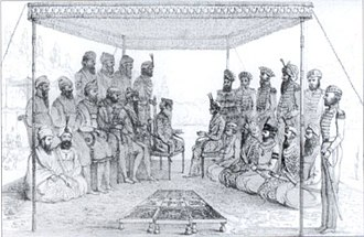 Sikh Empire - Ranjit Singh holding court in 1838
