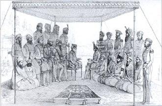 Sikh Empire - Ranjit Singh holding court in 1838
