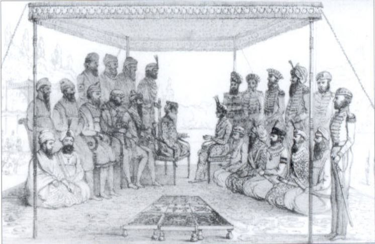 Ranjit Singh holding court - Court and Camp of Runjeet Singh - pg203