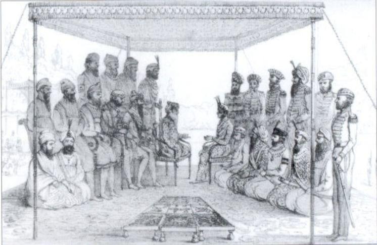 Ranjit Singh holding court - Court and Camp of Runjeet Singh - pg203.jpg