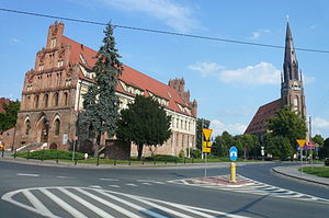 Chojna - Old Gothic Town Hall and church