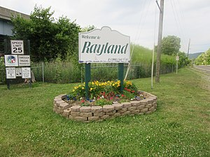 Rayland, Ohio - Welcome to Rayland sign at Southern end of village.