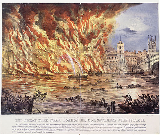 Read and Company - print; coloured lithograph - The Great Fire Near London Bridge, Saturday June 22nd 1861 - Google Art Project.jpg