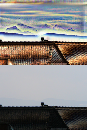 Image registration - Registering and summing multiple exposures of the same scene improve signal to noise ratio, allowing one to see things previously impossible to see. In this picture, the distant Alps are made visible, although they are tens of kilometers into the haze.