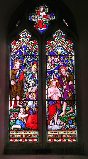 English: Repent window, Mathon church, near to...