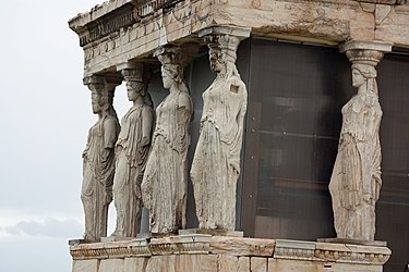 Replicas of the Caryatids at the Erectheum 2010 3.jpg