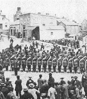 Elora, Ontario - Voluntary regiment in May 1862 in Elora, Ontario. The army consisted of 30,000 men in 1870, intended to defend Canada against a possible attack from the United States