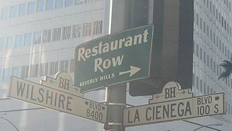 La Cienega Boulevard - Sign at the corner of Wilshire and La Cienega
