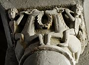 Youths riding goats (a Dionysiac motif in Antiquity) on 12th-century capitals from the abbey of Mozac in the Auvergne: the goats are indistinguishable from unicorns