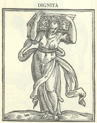 Dignity - Woodcut from Cesare Ripa's Iconologia depicting the Allegory of Dignity
