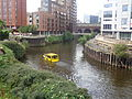 River Aire and the Leeds and Liverpool canal split at Granary Wharf, Leeds (19th July 2014).JPG