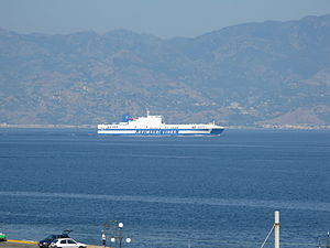 Ro-Ro ship Eurocargo Genova transiting the Strait of Messina - 20 July 2010.jpg