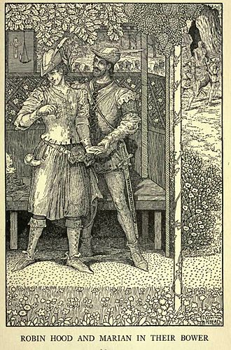 Maid Marian - Robin Hood and Marian in their Bower (1912). Maid Marion wears a Tyrolean hat and carries a hunting horn.