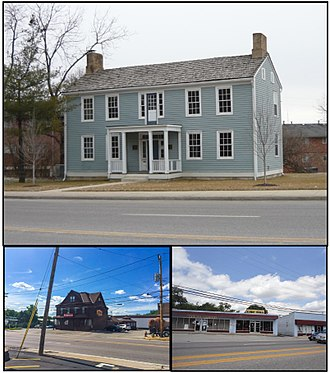 Rock Hill, Missouri - Top: The Fairfax House, Bottom Left: Trainwreck Saloon, Bottom Right: Former Rock Hill City Hall