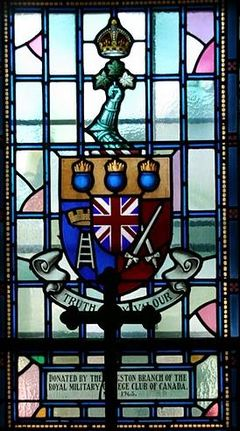Window donated by Royal Military Colleges Club of Canada Royal Military College of Canada Chapel stained glass window.jpg