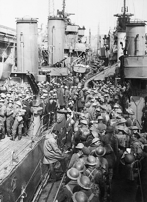 Royal Navy destroyers crowded with British troops evacuated from Dover, 31 May 1941. H1645