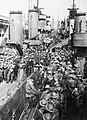 Royal Navy destroyers crowded with British troops evacuated from Dover, 31 May 1941. H1645.jpg