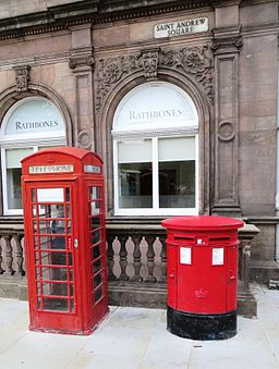 Royal mail post box in Edinburgh with phone cell 01