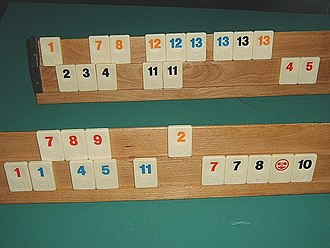 Rummikub - The racks of two players.