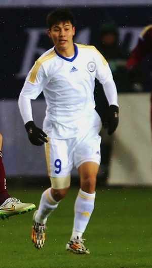 Bauyrzhan Islamkhan - Islamkhan playing for Kazakhstan in 2015.