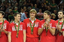 Kirilenko with some of his teammates from the Russian national basketball  team in 2011. d780d59c1