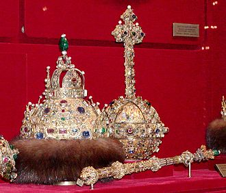"Regalia of the Russian tsars - ""Grand set"": the crown of Michael Fyodorovich with orb and sceptre of Boris Godunov."