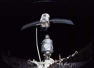 Pressurized Mating Adapter - Unity, already docked to Endeavour via PMA-2, docking with Zarya via PMA-1 during STS-88 (NASA)