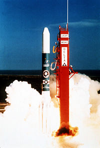 "Delta 183 launch vehicle lifts off, carrying the SDI sensor experiment ""Delta Star"", on March 24, 1989."