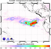 Average concentration of sulfur dioxide over the Sierra Negra Volcano (Galapagos Islands) from October 23–November 1, 2005