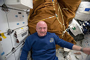 STS134 Mark Kelly in the middeck of Endeavour