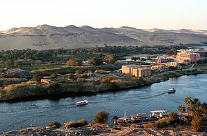 The Nile River at the ancient city of Aswan, a popular destination for vacationers