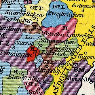 County of Saarwerden - The County of Saarwerden, in 1397, before being acquired by the House of Moers. (light green, above red).