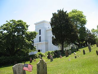 Sag Harbor, New York - Old Whaler's Church and Old Burial Ground. The burial ground is the former site of a British fort that was attacked by Patriots in Meigs Raid during the Revolutionary War.