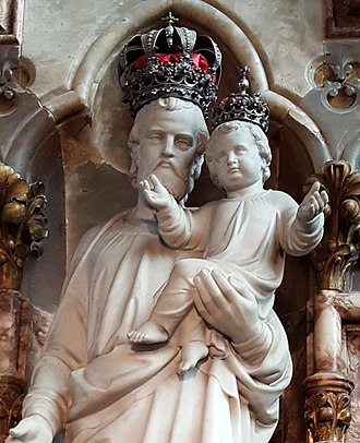 St Michael's Abbey, Farnborough - The statue of Saint Joseph, granted a Canonical coronation by Pope Pius IX in 13 April 1874.