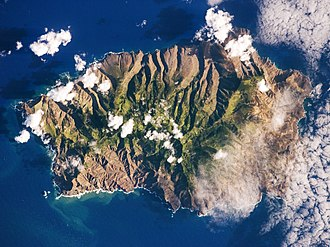 Saint Helena - Saint Helena seen from space (photo is oriented with south-east towards the top)