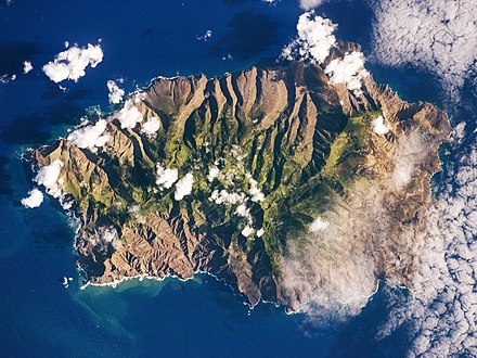 Saint Helena seen from space (photo is oriented with south-east towards the top) Saint Helena Island.jpg