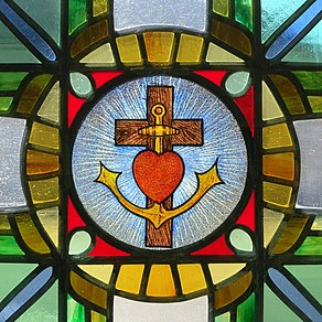 Saint Teresa of the Child Jesus Catholic Church (Springfield, Ohio) - stained glass, heart-cross-anchor.JPG
