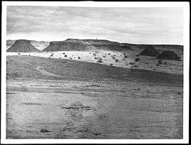 Salton Sea view of Superstition Mountain and Indian dwellings, ca.1900 (CHS-1964).jpg