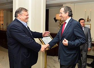 Cabinet of Antonis Samaras - Prime minister Samaras (r.) and his deputy Venizelos (l.)