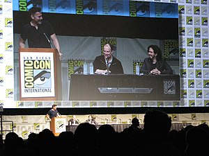 Ant-Man (film) - (L-R) moderator Geoff Boucher, producer Kevin Feige and Wright at the 2012 San Diego Comic-Con International