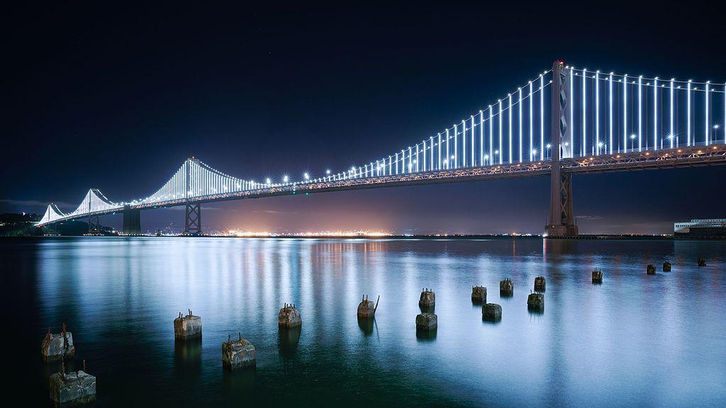 San Francisco Bay Bridge Western Span at night.jpg